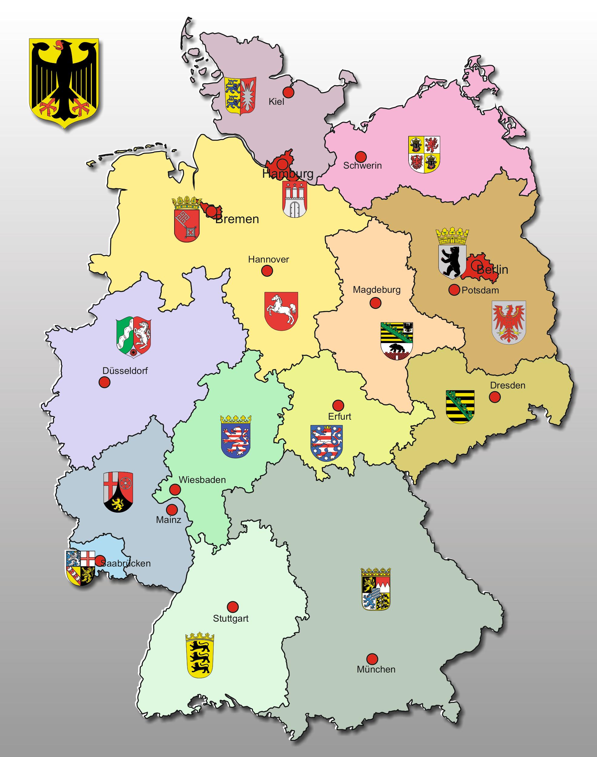 Große Deutschland Karte - deutschlandkarte - Bundesrepublik Deutschland Bundesländer Karte
